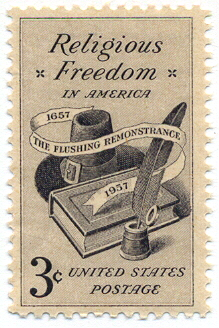 A U.S. Postage Stamp commemorating religious freedom and the Flushing Remonstrance